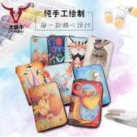 Vintage Fancy Tiger Sketch Color Leather Women Card Holder Wallets Small Female Fashion Zipper Credit Card