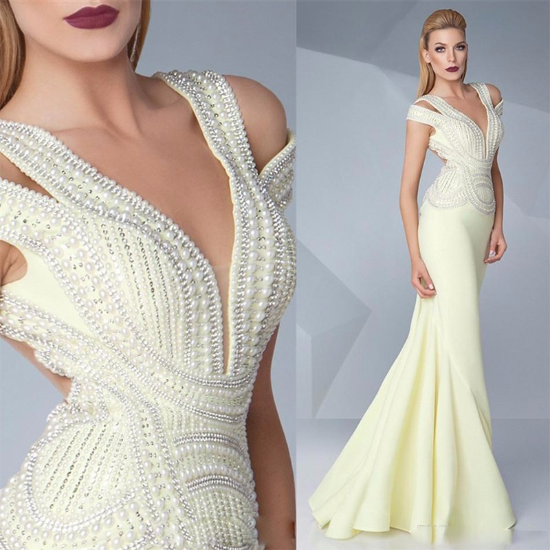 Luxury Evening Dresses 2016 Pearls Beaded Mermaid Formal
