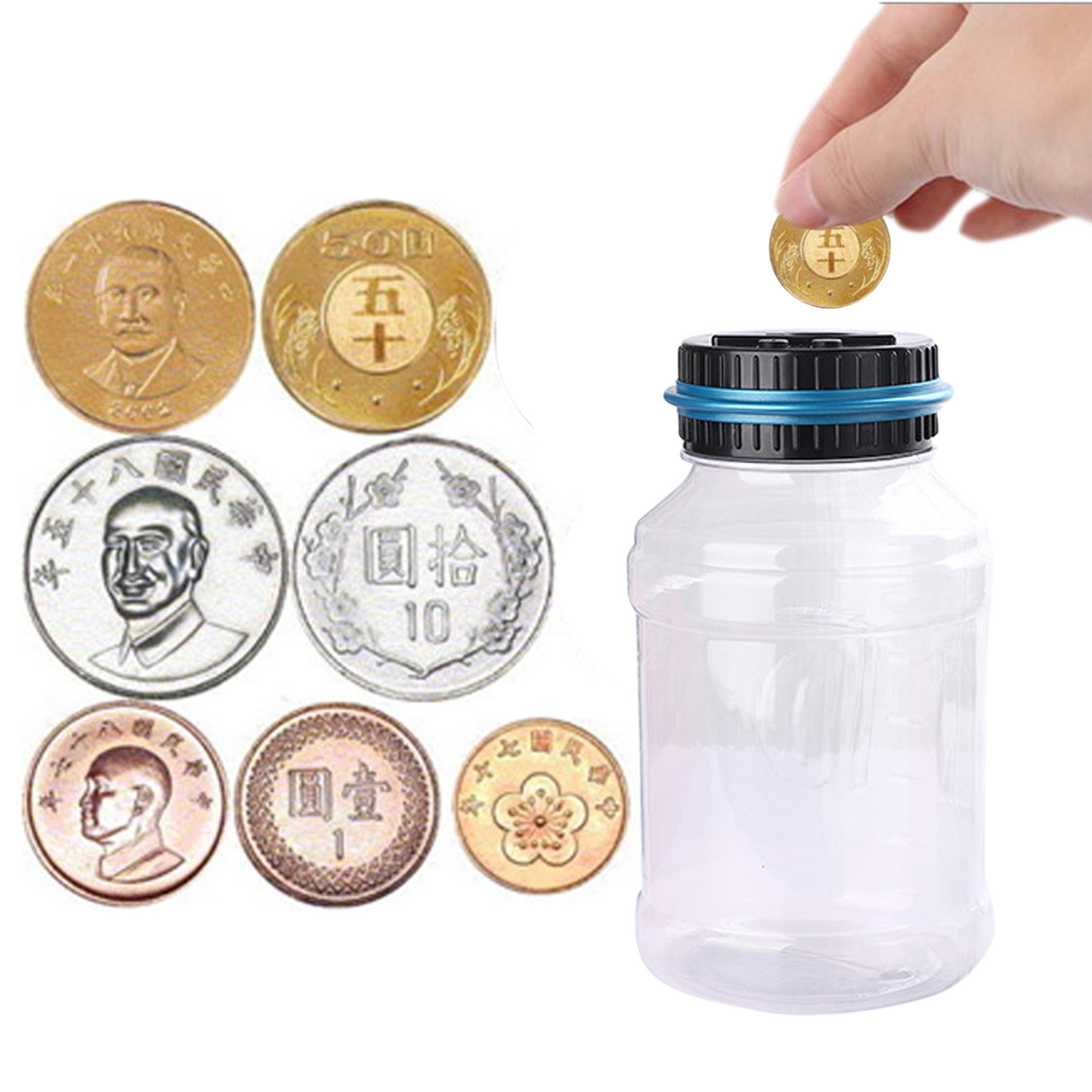 Behogar Automatic Counting Digital Piggy Coin Money Bank Box Counter Safe Coin Saving Money with LCD Display For 800-1000 Coins
