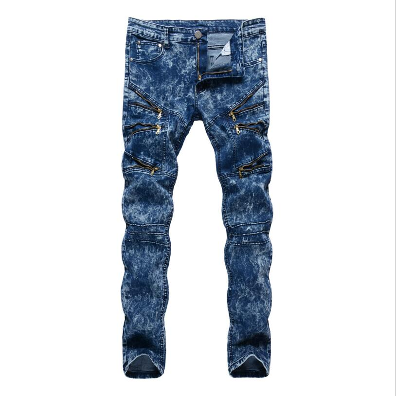 Mens Blue Skinny Jeans Oblique Zipper Pencil Pants Slim Jeans Good quality Denim Jeans Men Spring Slim Long jeans