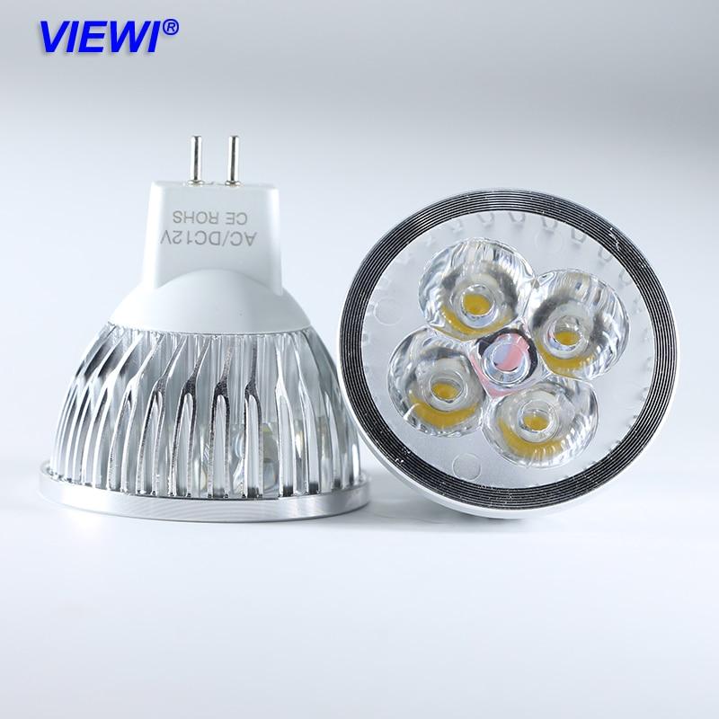 Viewi 5x lamba MR16 spot 4 W 3000 K 6000 K ac dc 12 v 24 v süper parlak ev ampul spot led dolap altı ışığı Alüminyum lamba