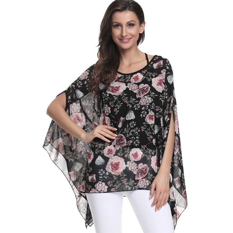 Women Shirts 2018 New Style Flowers Printing Casual Loose Summer Tops Plus  Size 6XL Batwing Sleeve 659a4b189