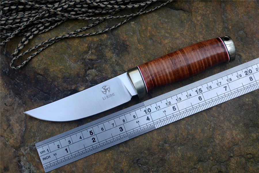 Fixed hunting knife LIBING D2 Satin blade leather handle for camping outdoor Skinning Cutting Knife with leather sheath image