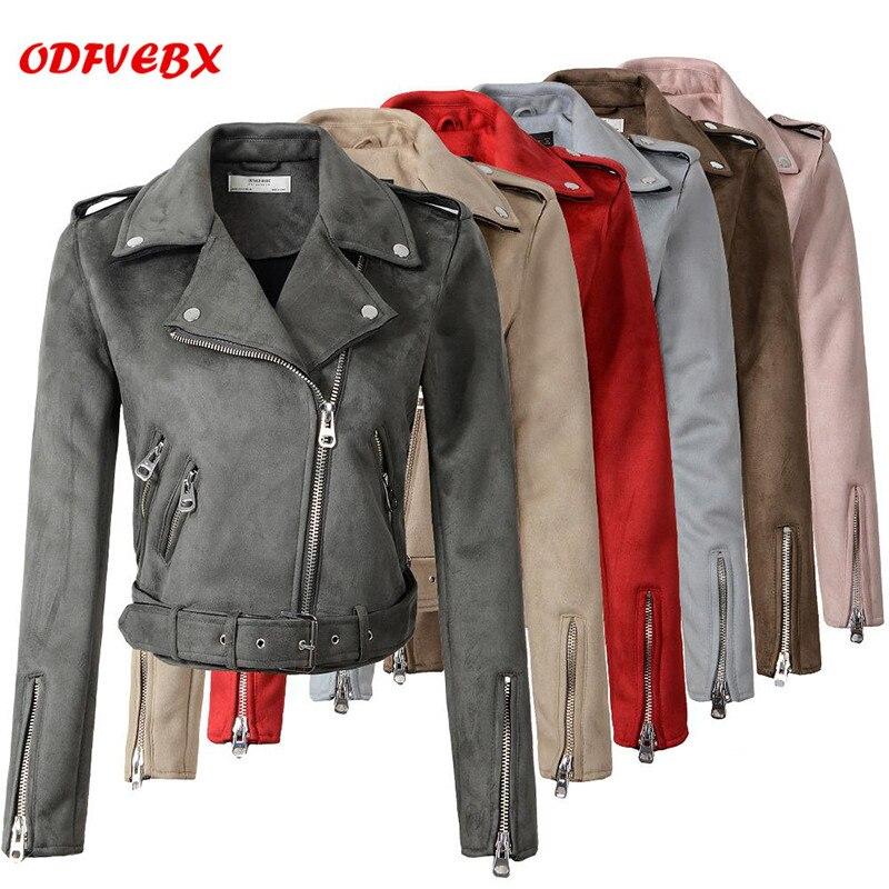 2019 court daim cuir veste femmes mode ceinture Slim peau de daim veste mince biker-gris rose cuir veste femmes ODFVEBX