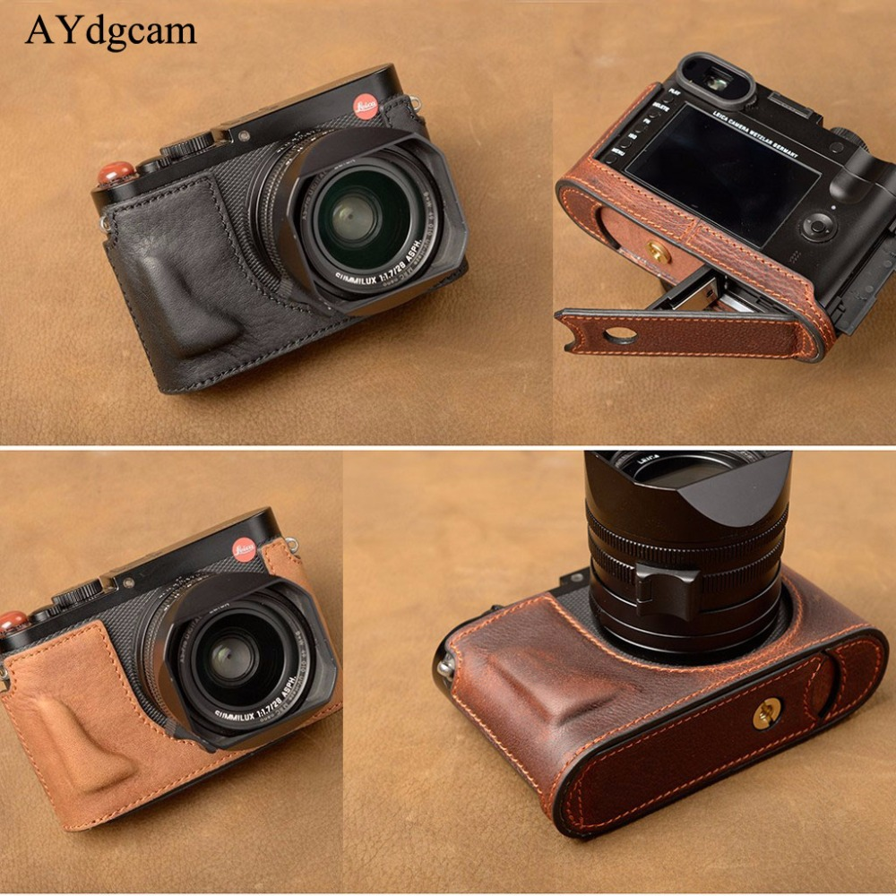 AYdgcam Retro Vintage Genuine Leather Camera Case Bag Handmade Half Body Cover For Leica Q