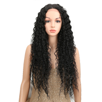 NOBLE Heat Resistant Synthetic Wigs For Women Natural Long Kinky Curly 30Inches Black Middle Part Lace Front Wig 150% Density