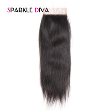 [SPARKLE DIVA HAIR] Peruvian Remy Hair Straight Closure 100% Human Hair 4X4 Lace Closure with Baby Hair Natural Color 8-18Inch