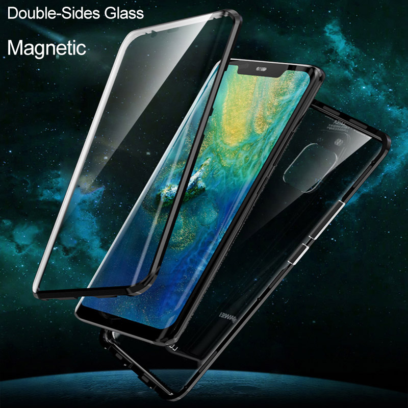 Dubbele Kanten Gehard Glas Magnetische Adsorptie Case Voor Huawei Mate 20 Pro P20 Pro Honor V20 Full Body Bescherming Metalen Cover