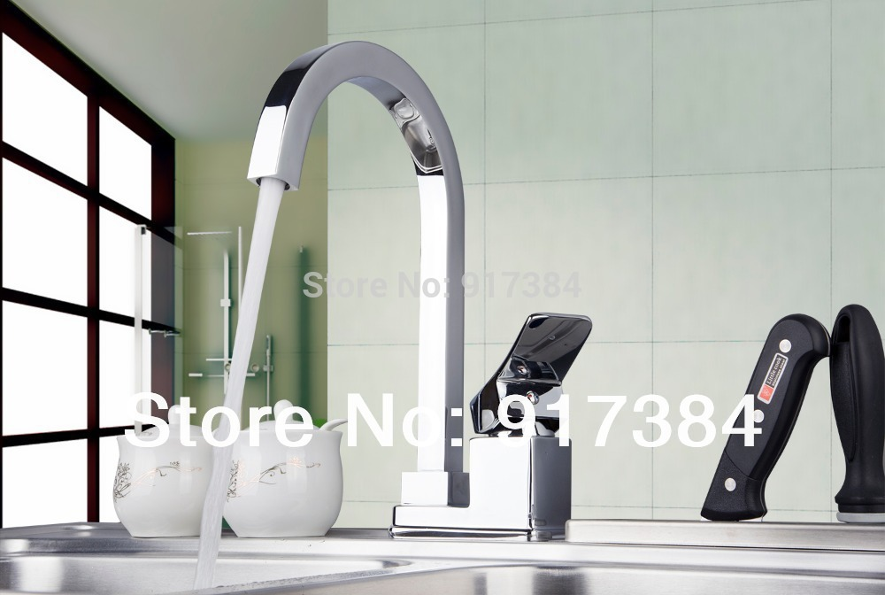 360 Swivel Hot/Cold Water Kitchen Sink Basin Chrome Brass Single Handle Deck Mounted M-025 Mixer Tap Faucet kitchen faucet led light pull out chrome swivel 360 single handle deck mounted basin sink torneira cozinha tap mixer faucet