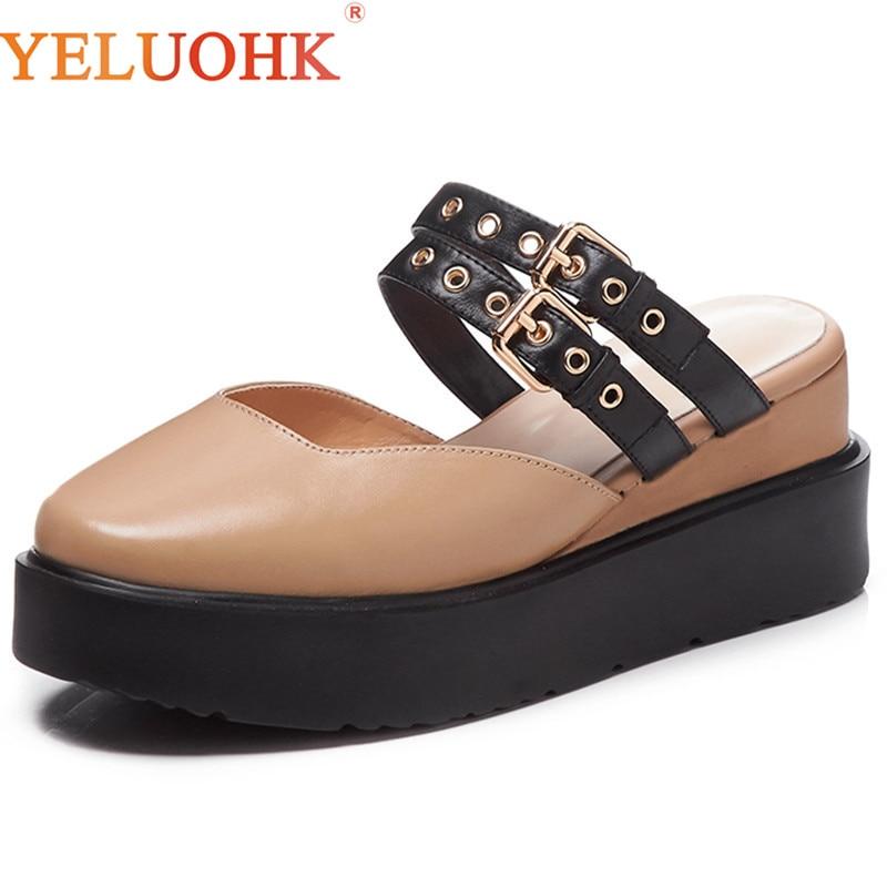 Genuine Leather High Heels 7 CM 2018 Women Summer Shoes Top Quality Platform Shoes Women Heels цена