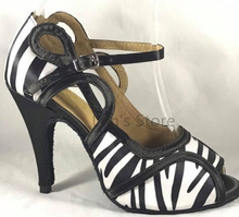 New Ladies Girls Zebra Satin Salsa Ballroom Dance Shoes Latin Dance Shoes Mambo Dancing Shoes