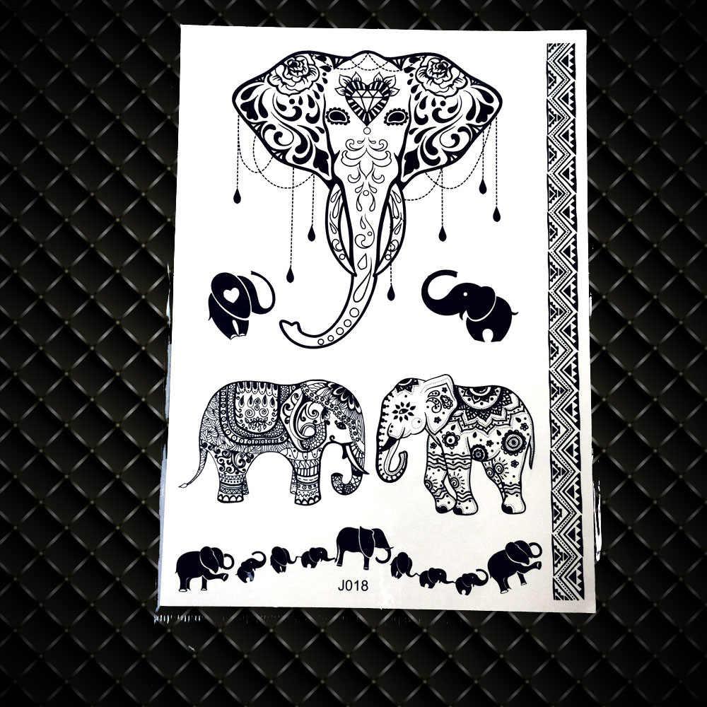 레이스 펜던트 코끼리 방수 가짜 블랙 헤나 임시 문신 스티커 여자 여자 바디 아트 다리 유방 sternum tatoo 아래