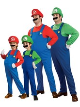 Children family Funy Cosplay Costume boy girl Super Mario Luigi Brothers Plumber Fancy Dress Up Party Cute Kids