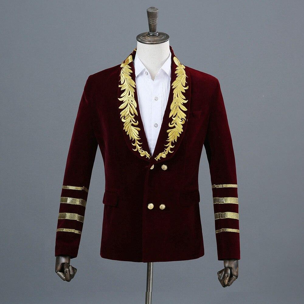 Блейзер для ночного клуба, мужской костюм, куртка,, сценические костюмы для певцов, DJ, черные мужские костюмы, пиджаки, черные блестки M - Цвет: Red