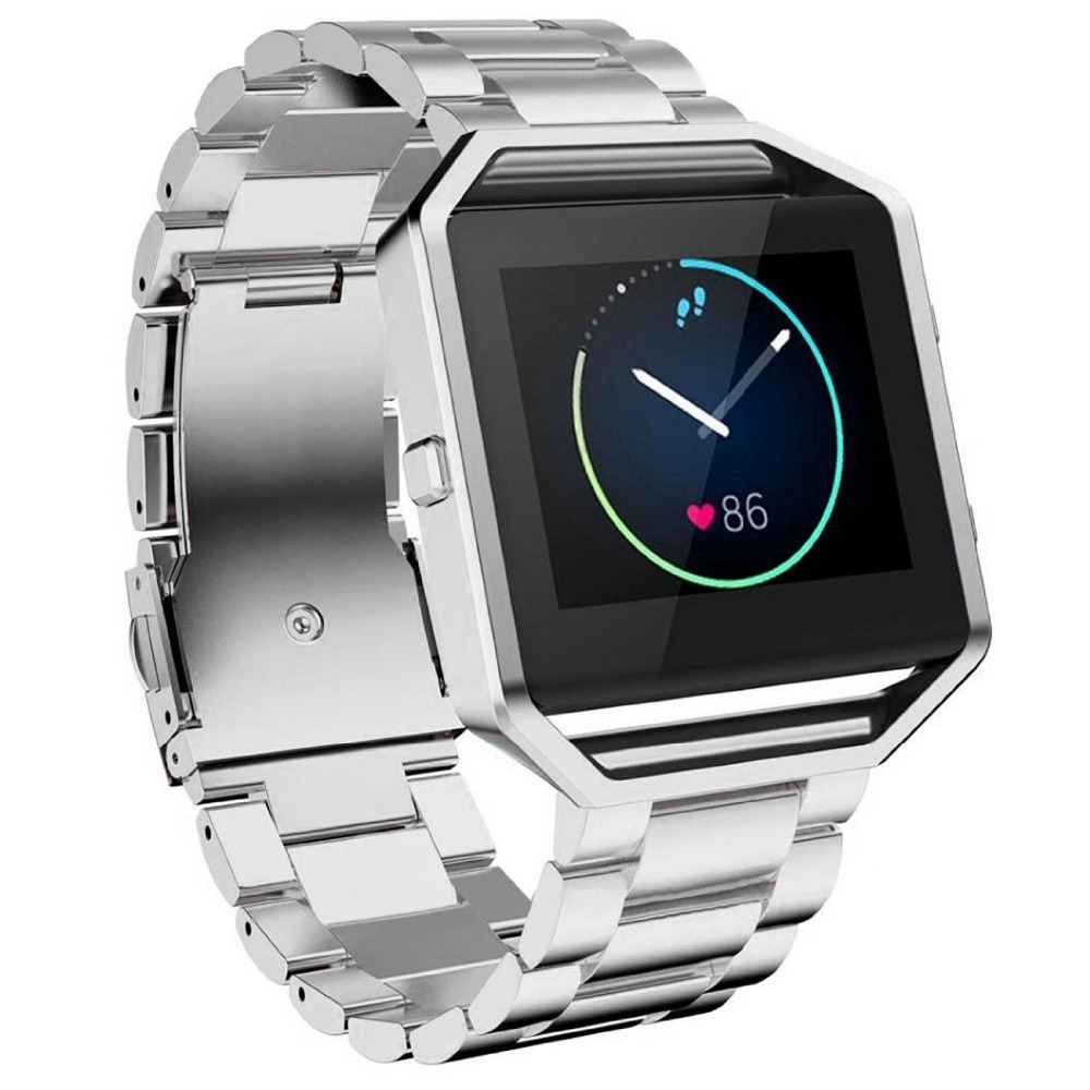 For Fitbit Blaze Band, Joyozy Smart Watch Band with Metal Frame Stainless Steel Replacement Strap for Fitbit Blaze -Silver black
