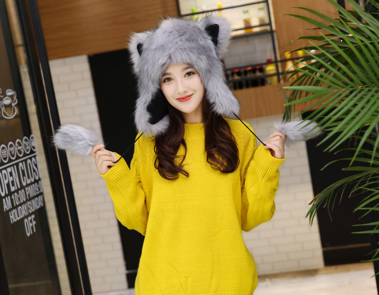 2017 Winter Faux Fox Fur Caps for Women Warm Bomber Hats with Ears Girls Novelty Cartoon Animals Party Caps Female Hats Gift 15