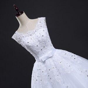 Image 4 - Fansmile Lange Zug Vintage Spitze Up Bogen Prinzessin Hochzeit Kleider 2020 Weiß Braut Ballkleid Robe de Mariee Real Photo FSM 089T