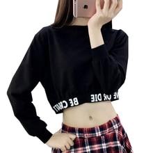 Letters Printing Sweatshirt Fashion Autumn Women Crop Tops Round Neck Long Sleeve Women Sweatshirts Simple Style Black Moletom