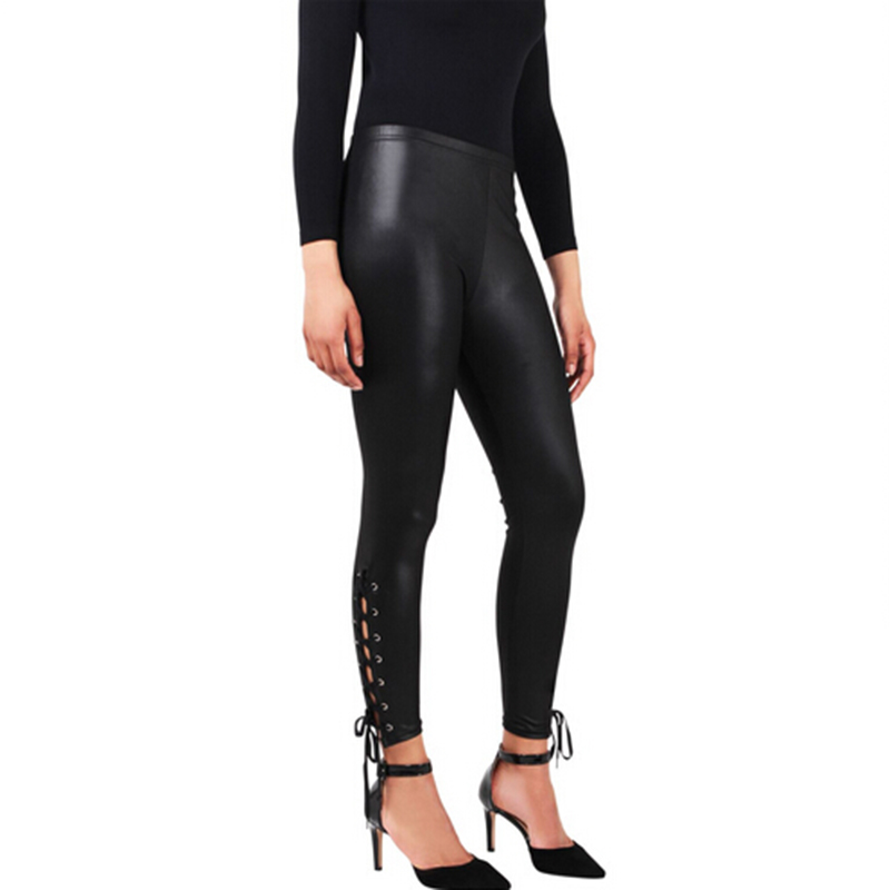 Black Sexy Slim Woman Leggings Faux Leather Lace-Up Leggings Fashion Skinny Punk Clubwear Leggings Women Mid-Calf Pants AQ966262