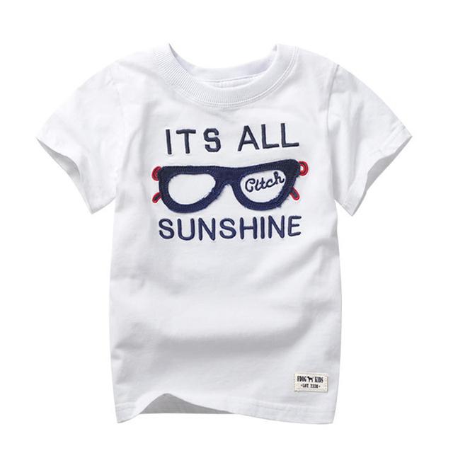 Muchachos T-shirt de verano 2016 nuevos niños de la llegada ropa camiseta de la letra impresa manga corta camiseta para niños niñas niños 2 - 7 T