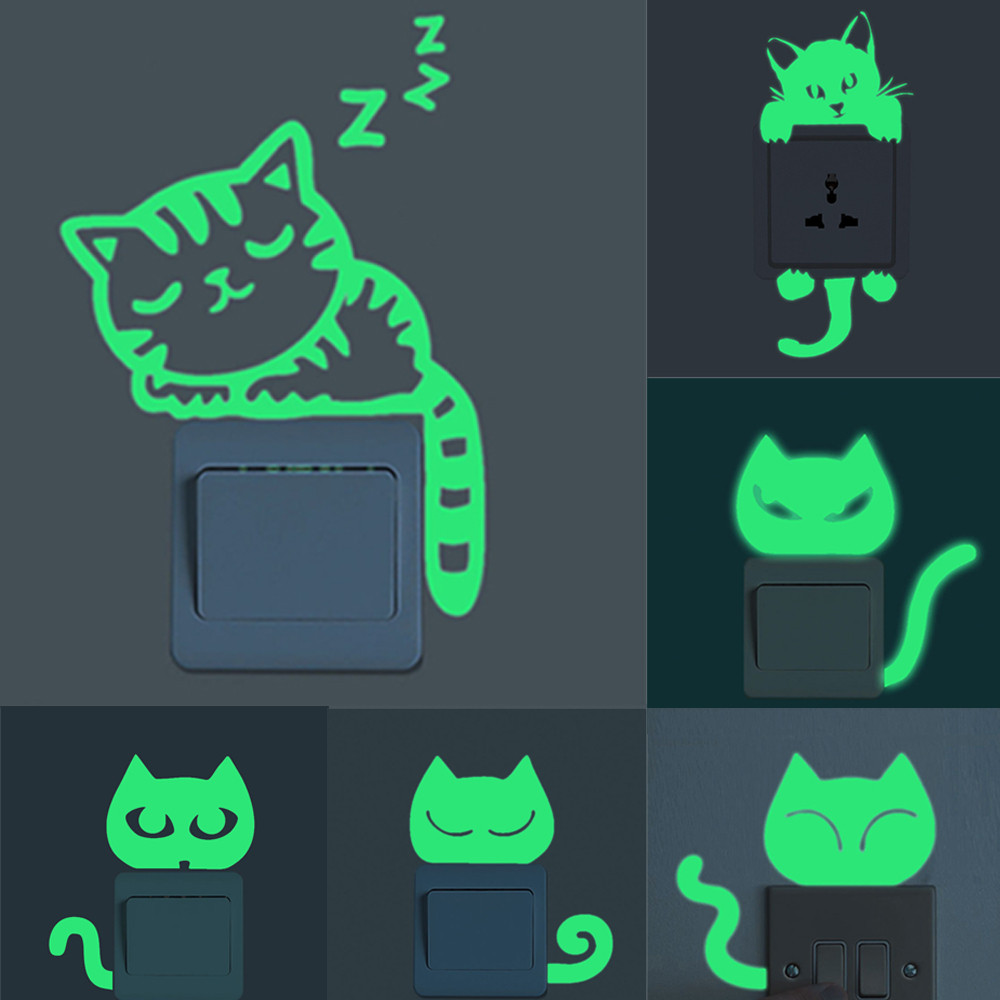 Green-light Luminous Switch Sticker Home Decor Cartoon Glowing Wall Stickers Dark Glow Decoration Sticker, Cat Cute Creative(China)