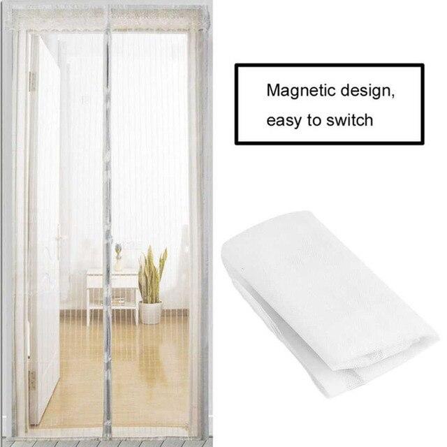 2 stksset duurzaam anti mosquito insect gordijnen magnetische mesh netto handsfree automatische sluiten deur