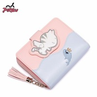 Gift Box Packing JUST STAR Ladies Embroidery Cartoon Fish Cat Wallet JZ4557 Female Tassel Coin Purse Women's PU Leather Wallets