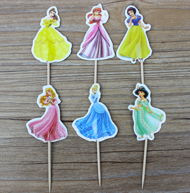 24pcs יפה נסיכה סינדרלה cupcake טופרס בחר - חגים ומסיבות