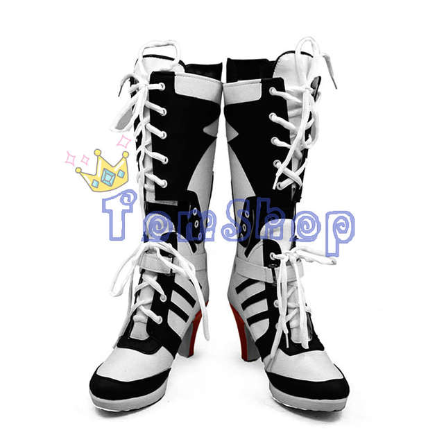 0194a018640a Batman Suicide Squad Harley Quinn Boots The Joker Cosplay Shoes High Heels  Women Halloween Party Costumes