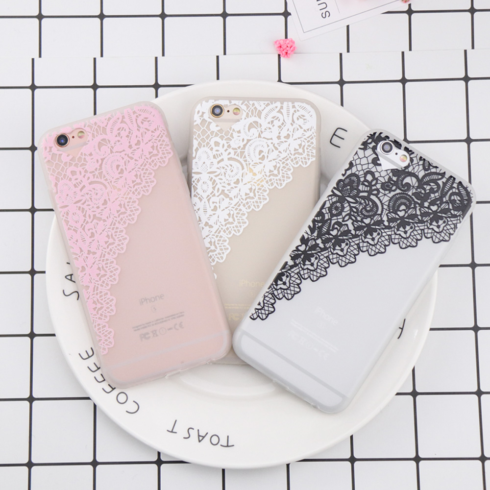 For iPhone 6 Case Luxury Curtains flowers Phone Case for iPhone 7 Case DILLON GUAN Lace Flower Soft TPU Cover for iPhone 8 Case