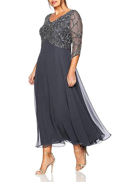 2019  Women's Chiffon Beading Tea Length Long Sleeves Mother Of The Bride Dress Plus Size Vestidos De Madrina 1