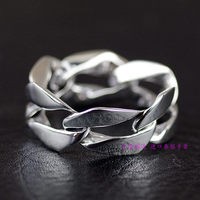 Thailand jewelry 925 silver rings Simple Chain Software Ring in Pure Silver