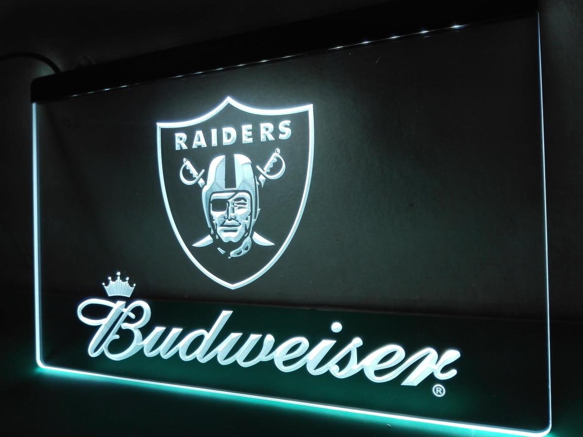 LD283 Oakland Raiders NR Budweiser Bar LED Neon Light Sign
