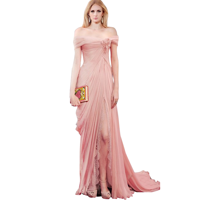 Blush Pink Prom Dresses Long 2017 Boat Neck Cap Sleeves Lace Split ...