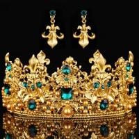Fine Jewelry Bride Wedding Crown Diademe Hair Jewelry Bijoux Women Tiara Gilded Green Rhinestone Hair Accessories Tiara Crown