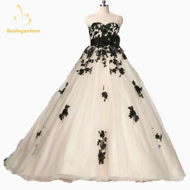 2018 New Fashion Wedding Dress Corset Back Handmade Flowers Black