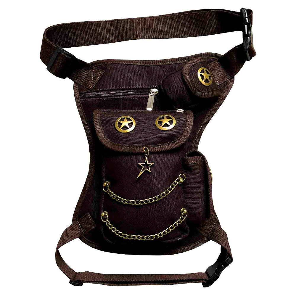 Vintage Steampunk Punk Waist Pack Biker Bag Purse Leg Bag Cavans