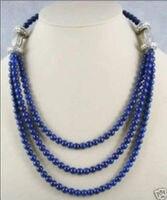 Belle! Tibet argent 6mm Lapis Lazuli Perle Collier