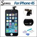 Черный Для iPhone 4S ЖК-Дисплей Объектив Переднее Стекло Сенсорный Экран Digitizer Замена Ассамблея и Ремонт Инструмента