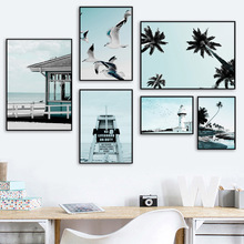 Beach Seagull Coconut Tree Sign Landscape Wall Art Canvas Painting Nordic Posters And Prints Wall Pictures For Living Room Decor цена