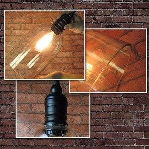 Image 5 - המדינה סגנון תליית מנורת זכוכית תליון מנורת סגלגל בהשתתפות E27 זכוכית בציר תליון אור לבית דקורטיבי מנורה