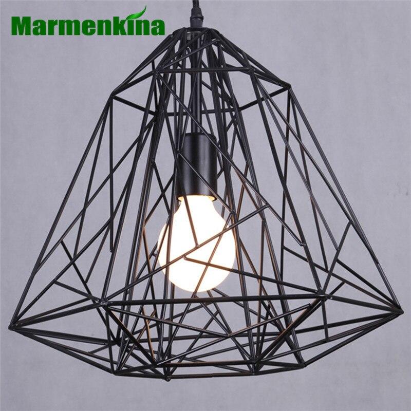 Marmenkina Creative diamond E27 lampes suspendues en fer noir lampe industrielle vintage Loft style rétro barre lumineuse salle à manger lumière