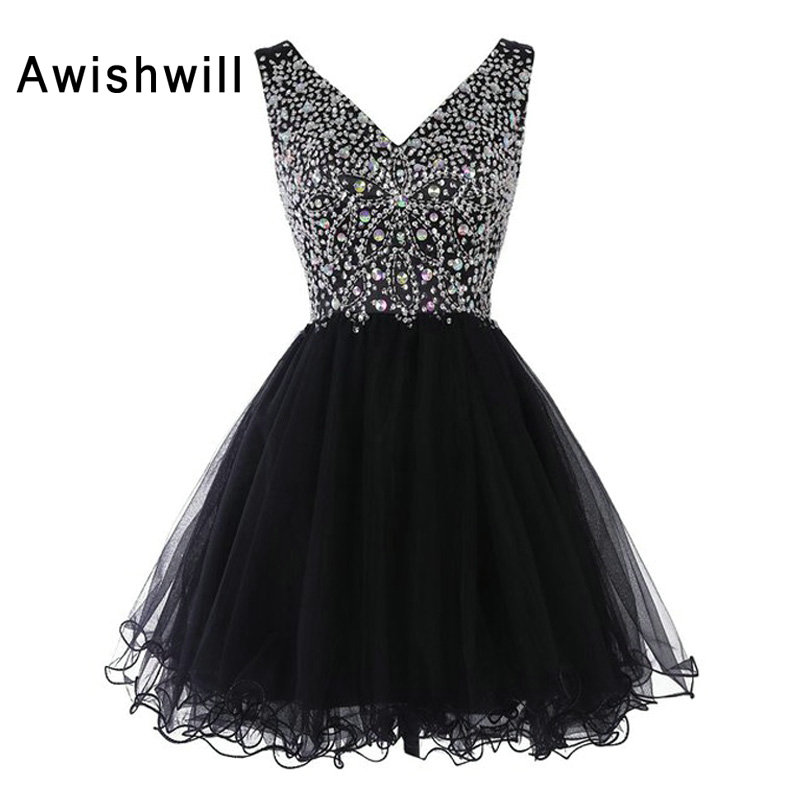 Hot Sale V-neck Black Mimi Party Prom   Cocktail     Dress   Sleeveless Beadings Rhinestones Tulle A-Line Homecoming   Dress   Gowns