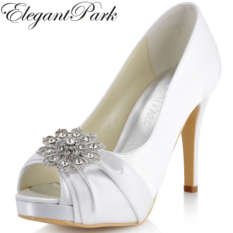 New Fashion Woman Pumps EP41058-PF White Peep Toe Rhinestone Platform High Heel Shoes Wedding Satin Bridal Shoes women fashion rhinestone super high heel bridal dress shoes white flower pearl crystal wedding shoes round toe wedding ceremony pumps