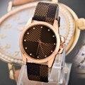 Francia marca de lujo reloj de cuarzo de Cuero de Moda Casual relojes Relojes de moda reloj de las mujeres miran el envío libre enviar La Batería