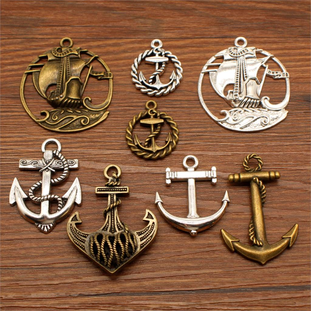 3 Piece Mix Ship Anchor  Decor Charms For Jewelry Making Boat Diy Craft Supplies Men