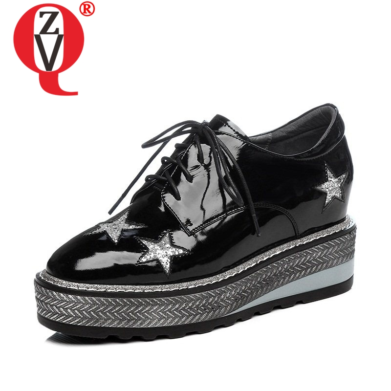 ZVQ pentagram decoration round toe platform lace up shoes height increasing comfortable spats high heels spring