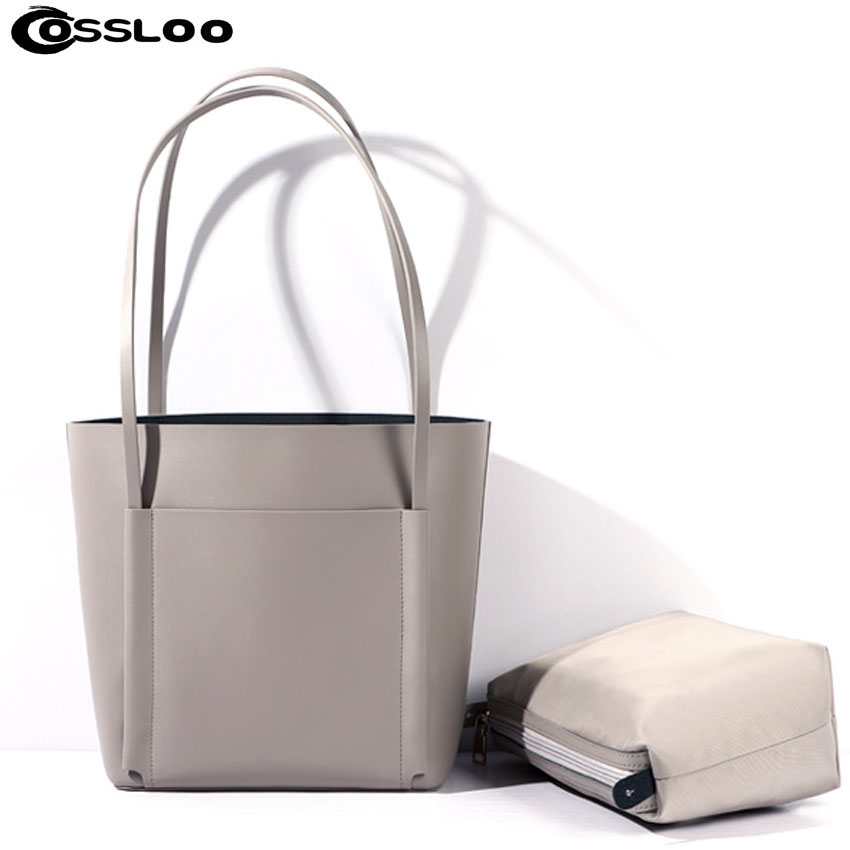 COSSLOO Fashion Women Genuine Leather Bags Women Real Leather Handbag Large Shoulder Bags Elegant Women Bags Bolsa composite bag cossloo women shoulder bags genuine leather handbag cowhide messenger bag for women leather bags ladies tote sacthel purse bolsa