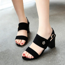 Genuine Leather Big Size 34-44 Fashion Sandal women's Sexy Casual Buckle Strap Summer Square heel Dress Shoes High-heeled Shoes