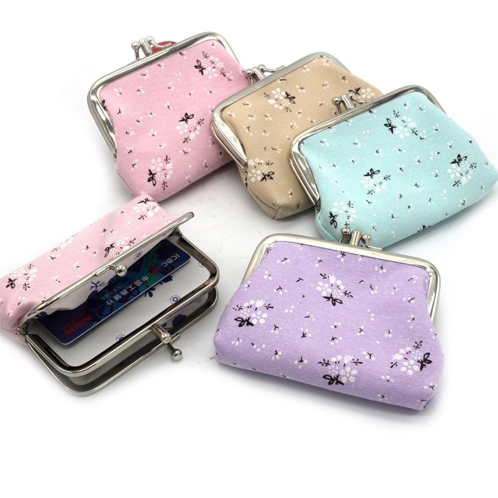 Women Coin Purse Cute Cotton Cloth Retro Retro Flowers Hasp Small Wallet Change Pouch Key Card Holder Clutch Handbag